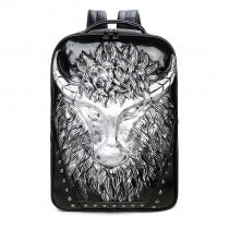 Metallic Silver Black Leather Cool Boys School Campus Book Bag Punk Style Embossed Cape Buffalo Rivet Studded Large Travel Laptop Backpack