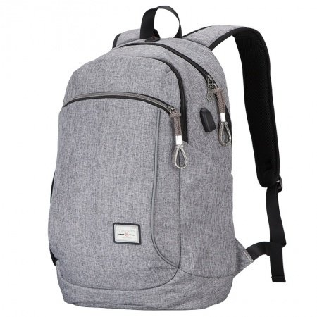 Lightweight Solid Silver Gray Polyester Masculine Men Large Travel Backpack Durable Sewing Pattern Zipper Preppy School Campus Book Bag