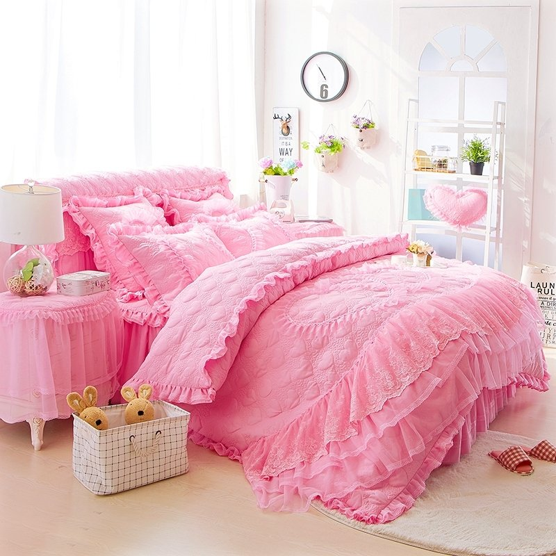 Trendy Hot Pink Victorian Heart Pattern Ruffled Lace Design Romantic Cute  Girly Full, Queen Size Bedding Sets
