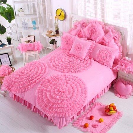 Hot Pink Waterfall Ruffle Design Rosette Pattern Feminine Feel Stylish 100% Cotton Twin, Full, Queen Size Bedding Sets for Teen Girls