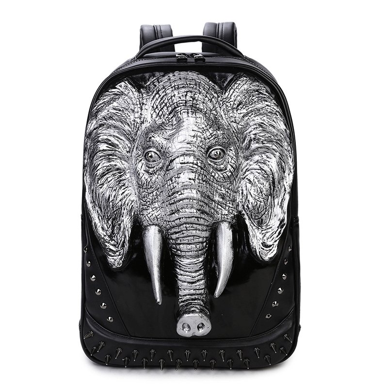 Black Patent Embossed Metallic Silver Elephant Men Large Travel Backpack  Punk Rock and Roll Style Spikes Rivet Studded School Book Bag 7e8febdb84f43
