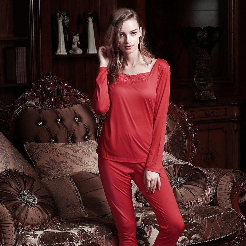 Plain Red 100% Nature Silk 2 Pieces Crewneck Long Shirt Trousers Baggy Casual Pajamas for Feminine Girls L XL XXL
