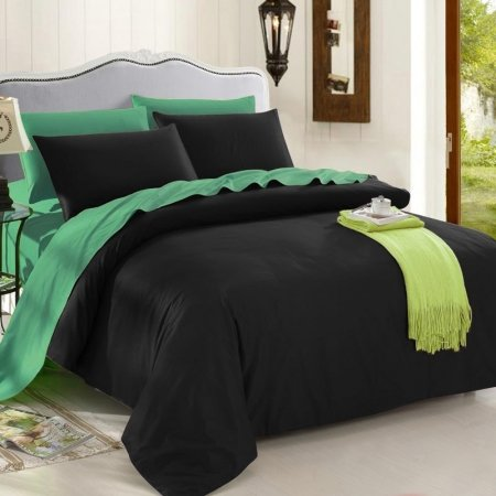 Black and Mint Green Pure Colored Noble Excellence Simply Chic Luxury Cotton Full, Queen, King Size Bedding Sets