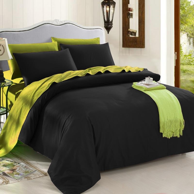 Vintage Black and Olive Shabby Chic Simply Reversible Organic Cotton Full, Queen, King Size Bedding Sets