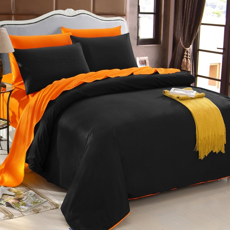 Luxury Black and Orange Stylish Solid Colored Simply Zippered Reversible 100% Cotton Full, Queen, King Size Bedding Sets