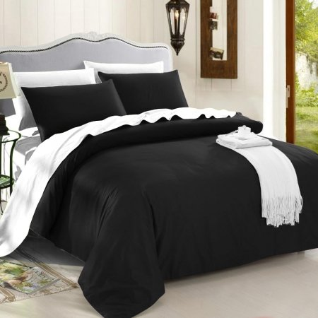 Luxury Black and White Modern Chic Traditional Reversible 4 Pieces 100% Cotton Full, Queen, King Size Bedding Sets