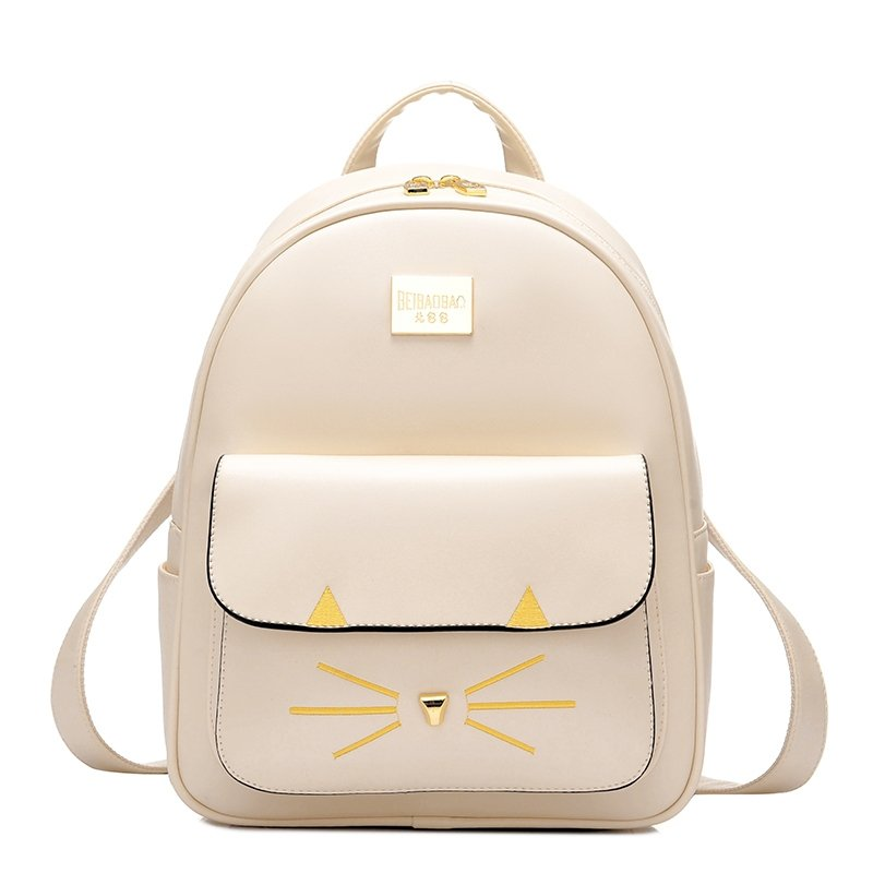 Cream Patent Leather with Gold Embroidered Girls School Campus Book Bag Durable Sewing Pattern Casual Travel 10 Inch Laptop Backpack