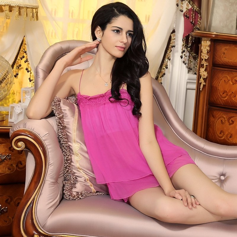 Plum Hot Sexy Lace Border Ruffled Condole Belt Shorts 100% Pure Silk Pajamas for Feminine Girly M L XL