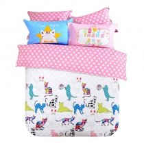 Bright Colorful Animal Cat Print Polka Dot Design High Fashion Hipster Style Personalized 100% Cotton Twin, Full Size Bedding Sets