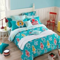 Boys Turquoise Red Orange and Grey Robot Print Hipster Style Modern and Fun Unique 100% Cotton Twin, Full, Queen Size Bedding Sets