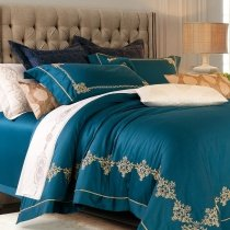 Cerulean and Gold Tribal Pattern Royal Hotel Style Noble Excellence Embroidered Luxury Egyptian Cotton Full, Queen Size Bedding Sets