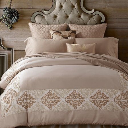 Khaki and Beige Tribal Indian Pattern Hotel Style Noble Excellence Luxury Egyptian Cotton Full, Queen Size Bedding Sets