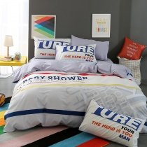 Royal Blue Red Yellow Grey and White Monogrammed and Stripe Print Hipster Style Modern Chic 100% Cotton Full, Queen Size Bedding Sets