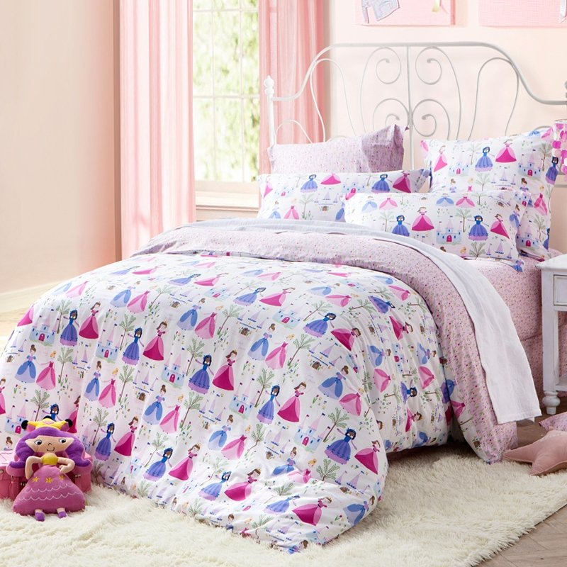 Rose Pink Blue and White Little Princess Print Cartoon Themed Modern Chic Twin, Full Size Bedding Sets for Girls