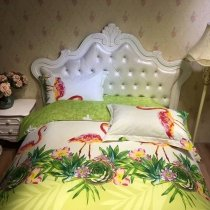 Lime Green Rose Red and White Flamingo Print Animal Themed Tropical Rustic Style 100% Cotton Twin, Full Size Bedding Sets
