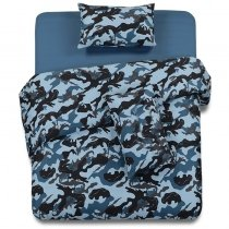 Slate Blue and Black Camouflage Print Vintage Shabby Chic Full, Queen Size Bedding Sets