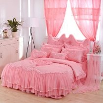 Sophisticated Elegant Pink Applique Heart Gathered Ruffle Girls Princess Vintage Romantic Jacquard Twin, Full, Queen Size Bedding Sets