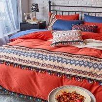 Burnt Orange Royal Blue and Cream Chevron Stripe Tassel Design Southwestern Style Luxury Egyptian Cotton Full, Queen Size Bedding Sets