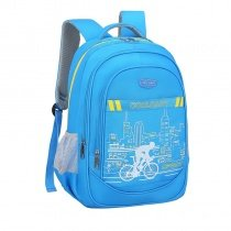 Lightweight Sky Blue Nylon Sewing Pattern Boys School Backpack Gorgeous City Sky Line Bicycle Holiday Pupil Preppy Campus Book Bag