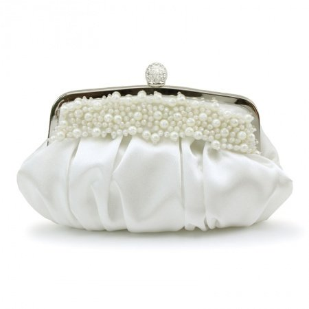 Upscale Soft White Ruffle Silk Satin Pearl Beaded Lady Small Evening Clutch Vintage Magnetic Closure Chain Crossbody Shoulder Bag