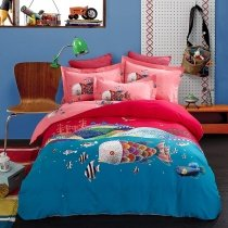 Navy Blue Coral Red and Pink Fish Print Ocean Themed Funky Style 100% Brushed Cotton Full, Queen Size Bedding Sets for Kids, Girls, Boys