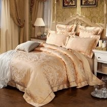 Luxury Gold Ethnic Pattern Western Style Sequin Noble Excellence Royal Style Jacquard Satin Full, Queen Size Bedding Sets
