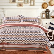 Brown Blue and White Aztec Stripe Print Vintage Shabby Chic Personalized 100% Cotton Full, Queen Size Bedding Sets