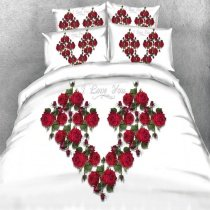 Lime Green White and Red 3D Monogrammed Heart Rose Print Romantic Elegant Feminine Twin, Full, Queen, King Size Bedding Sets