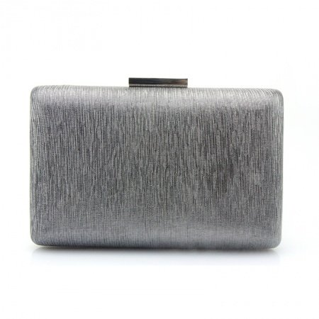Gray Faux Leather Sequin Women Mini Hard Shell Evening Party Clutch Vintage Lock Closure Chain Bride Wedding Crossbody Shoulder Bag
