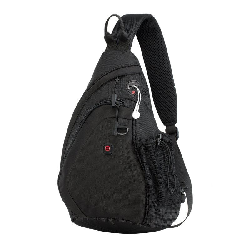 Waterproof Black Oxford Men Large Crossbody Shoulder Chest Bag Fine Anti Theft Sewing Pattern Travel Hiking Cycling Sling Backpack