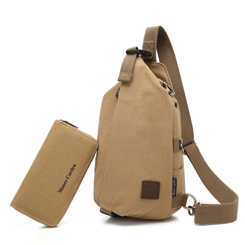 Coffee Brown Waxed Canvas Men Small Crossbody Shoulder Chest Bag Simply Chic Anti Theft Casual Travel Hiking Cycling Sling Backpack