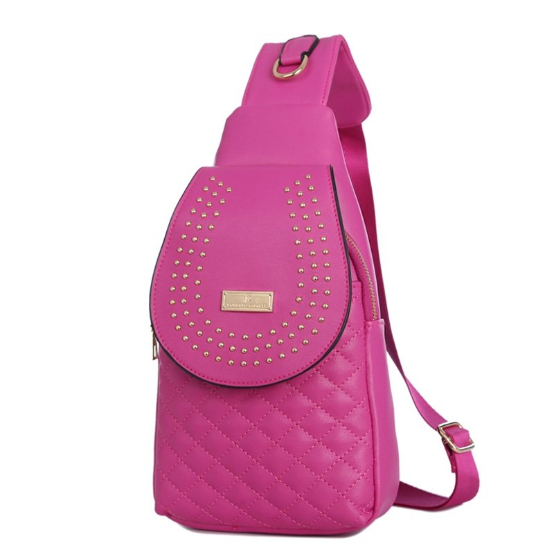 Hot Pink Faux Leather Quilted Girls Small Crossbody Shoulder Chest Bag Unique Beaded Studded Travel Hiking Cycling Flap Sling Backpack