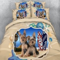 Earth Yellow Blue Red and Brown Dog Print Beach Themed Funky Style Perfect Twin, Full, Queen, King Size Bedding Sets
