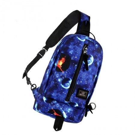 Sparkle Sapphire Blue Black and White Polyester Boys Crossbody Shoulder Chest Bag Galaxy Scene Nebulae Print Casual Travel Sling Backpack
