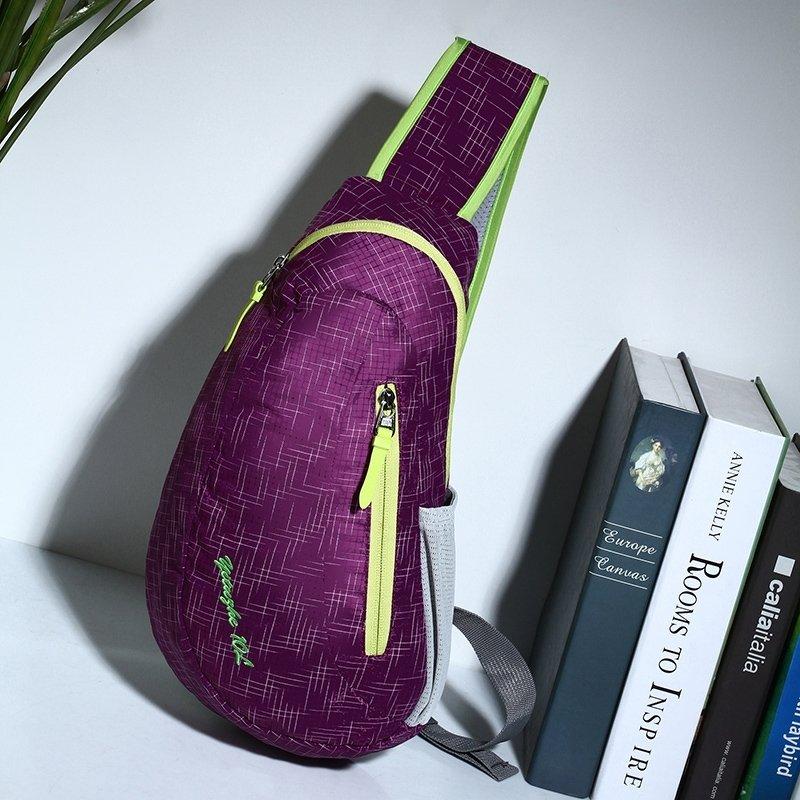 Eggplant Purple Nylon with Yellow Trim Women Crossbody Shoulder Chest Bag Unique Grid Plaid Print Travel Hiking Cycling Sling Backpack