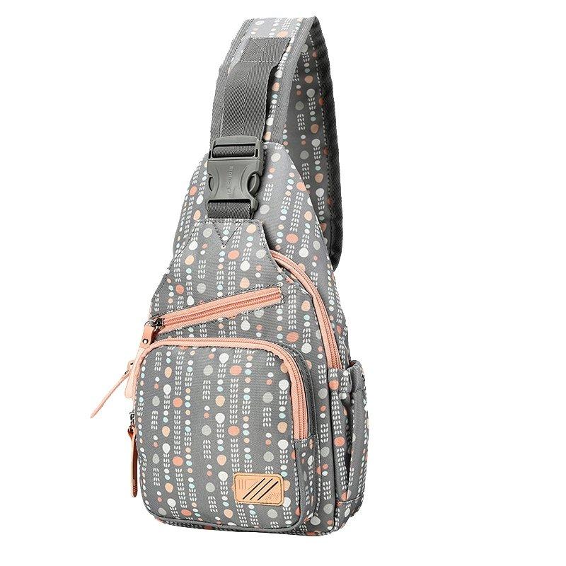 Dark Gray Beige and Orange Polyester Girls Crossbody Shoulder Chest Bag Vogue Polka Dot Print Small Travel Hiking Cycling Sling Backpack
