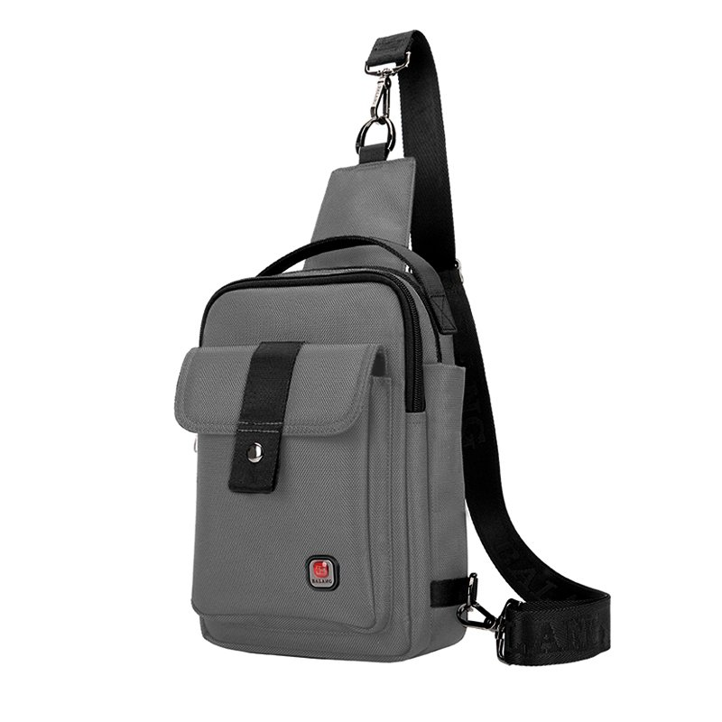 Gray Oxford with Black Trim Men Small Crossbody Shoulder Chest Bag Durable Sewing Pattern Zipper Travel Hiking Cycling Sling Backpack