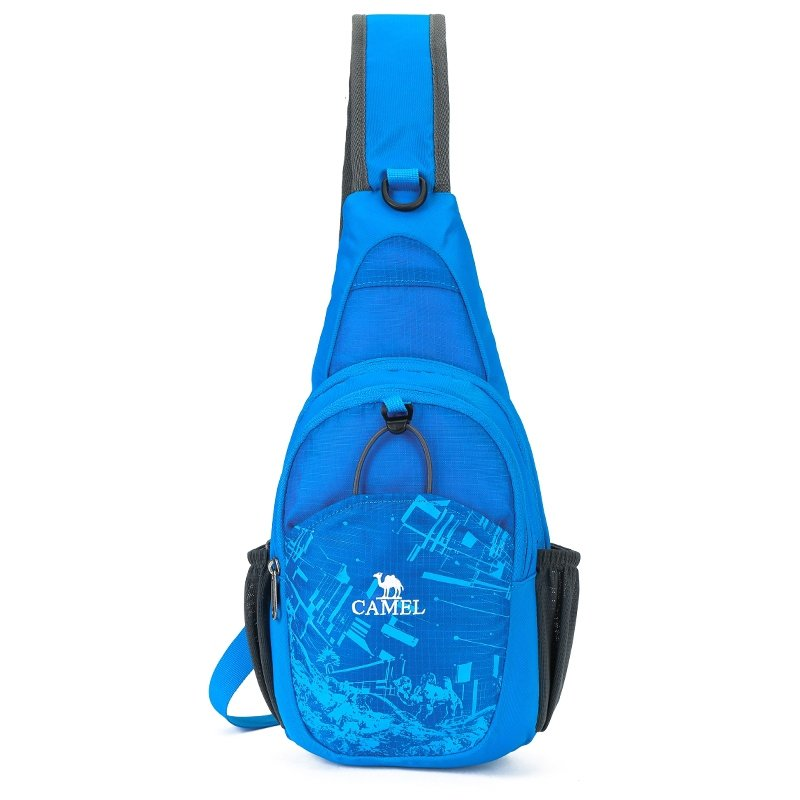 Sapphire Blue Oxford Boys Large Crossbody Shoulder Chest Bag Trend City Scene Camel Print Travel Hiking Cycling Sport Sling Backpack