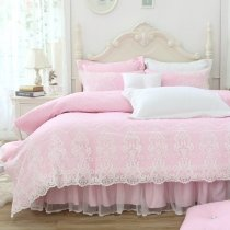 Girls Pastel Pink and White Gothic Lace Pattern Romantic Ruffle Lace Sophisticated Elegant Twin, Full, Queen Size Bedding Sets