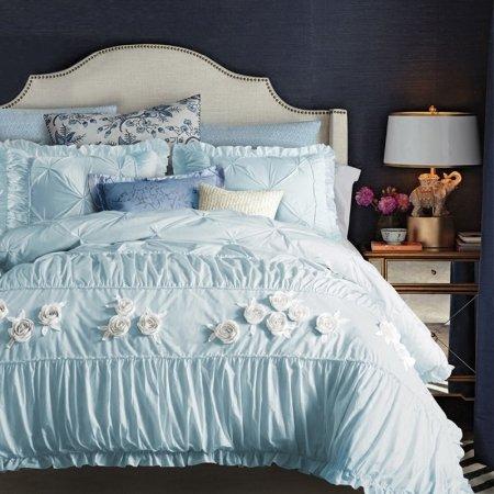 Sophisticated Elegant Light Blue Applique Rose Pattern Vintage Shabby Chic Pintuck Ruffle Feminine Full, Queen Size Bedding Sets