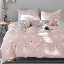 Personalized Blush Pink White and Gray Polar Bear Print Wild Animal Themed Cute Girly Girls Twin, Full Size Bedding Sets