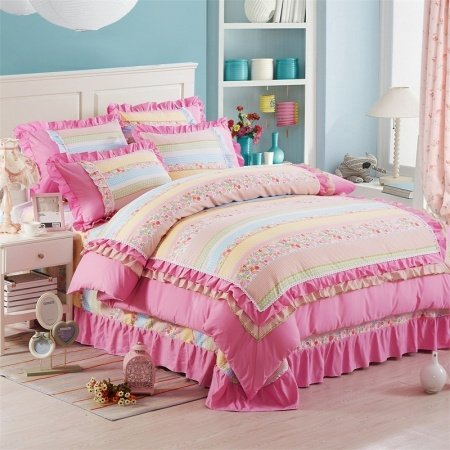 Hot Pink Yellow White and Blue Flower Print Romantic Attached Dust Ruffle Sophisticated Elegant Girls Full Size Bedding Sets