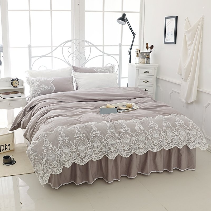 Taupe Gray Bohemian Tribal Pattern Vintage Victorian Lace Romantic Shabby Chic Drop Ruffle Twin, Full, Queen Size Bedding Sets