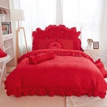 Bohemian Baroque Style Red Tribal Pattern Vintage Victorian Lace Ruffle Romantic Feminine Jacquard Satin Twin, Full, Queen Size Bedding Sets
