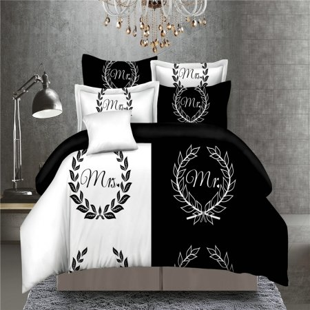 Unusual Black and White Monogrammed Medallion Print Modern Chic Hipster His and Her Full Size Bedding Sets