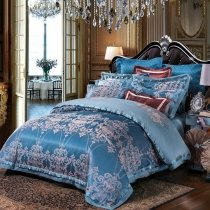 Spanish Blue and Silver Gothic Pattern Western Bohemian Style Noble Excellence Jacquard Satin Full, Queen Size Bedding Sets