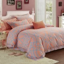 Pastel Style Coral Pink and Gray Abstract Design Stylish Hipster Unique Full, Queen Size Bedding Sets