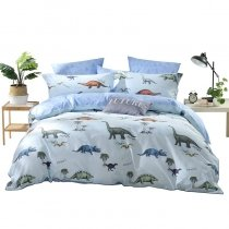 Boys Light Blue Brown and Gray Dinosaur Print Jungle Animal Themed Shabby Chic Twin, Full, Queen Size Bedding Sets