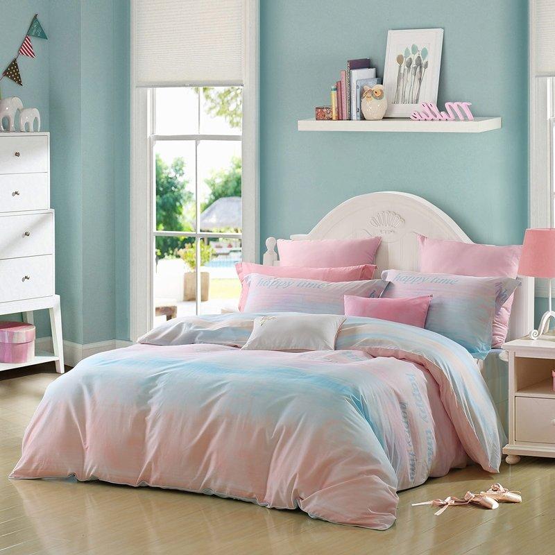 Aqua Blue And Pink Ombre Striped Print, Ombre Bedding Set Queen