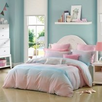 Aqua Blue and Pink Ombre Striped Print Trippy Style Simply Chic Twin, Full, Queen Size Bedding Sets